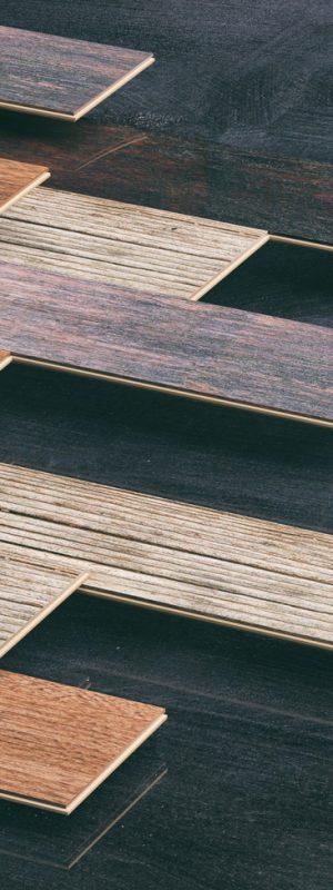 Laminate floor planks on black background. 3d illustration